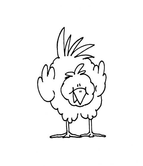 Janie Miller Bending Chicken Wood Mount Stamp J2-33077F