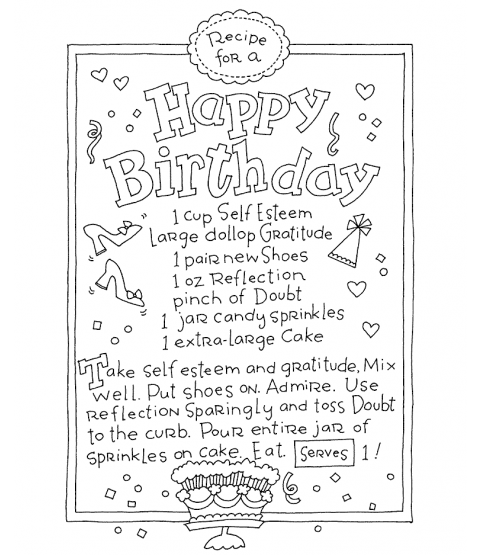 Ronnie Walter Birthday Recipe Wood Mount Stamp V4-10905V