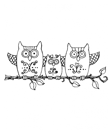 Ronnie Walter Branch Owl Trio Wood Mount Stamp K3-2241H