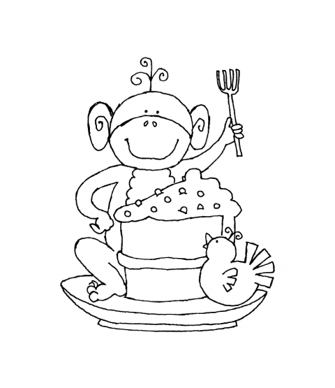 Ronnie Walter Cake Slice Monkey Wood Mount Stamp J1-0034G