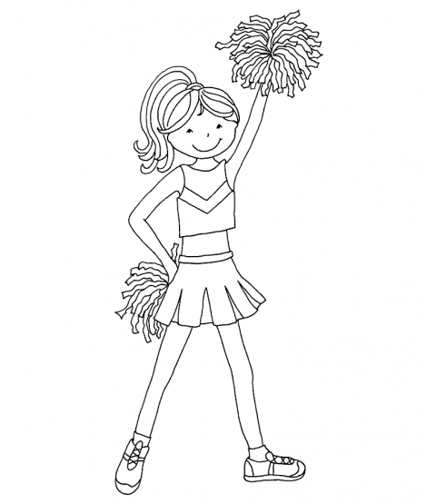 Cheerleader Girl Wood Mount Stamp P6-0308K
