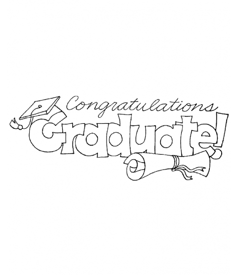 Congrats Grad Wood Mount Stamp P6-1562J