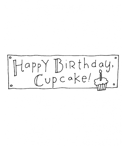 Ronnie Walter Cupcake Birthday Wood Mount Stamp J5-10609G