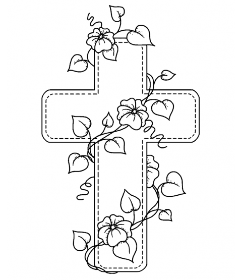 Floral Cross Wood Mount Stamp M1-2871J