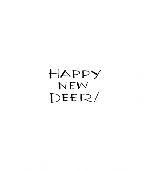 Ronnie Walter Happy New Deer Wood Mount Stamp D3-0021D