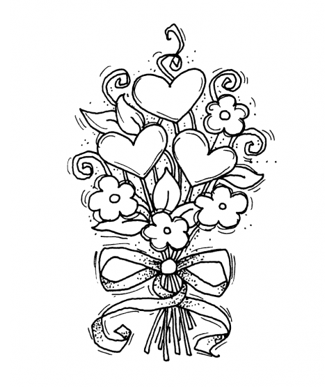 Heart Bouquet Wood Mount Stamp K5-2236E