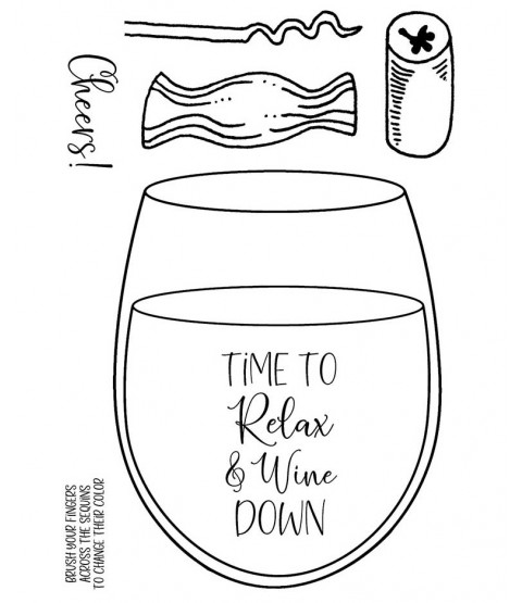 Relax & Wine Down Clear Stamp Set 11492MC