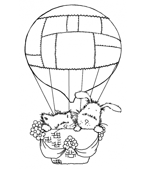 Maria Woods Hot Air Balloon Pals Wood Mount Stamp M1-7005J