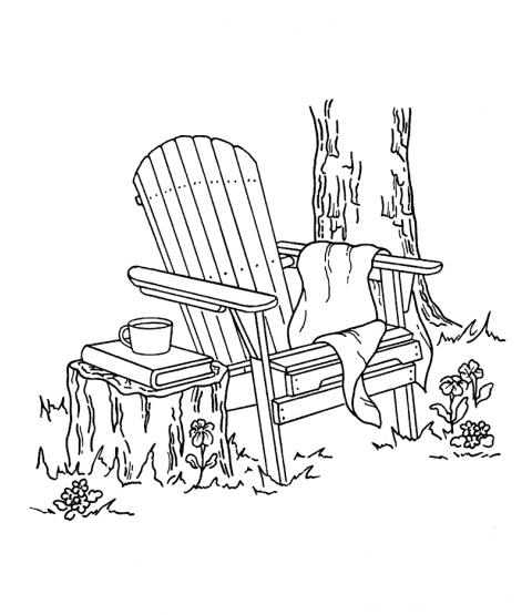 Nancy Baier Adirondack Chair Wood Mount Stamp M2-0653J