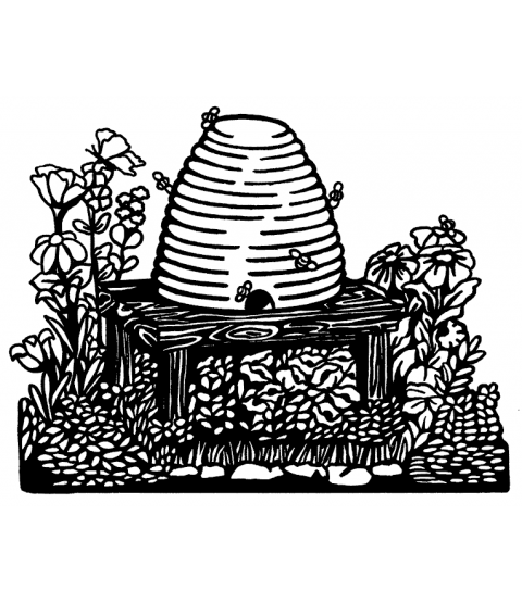 Nancy Baier Beehive Scene Wood Mount Stamp K2-3461H