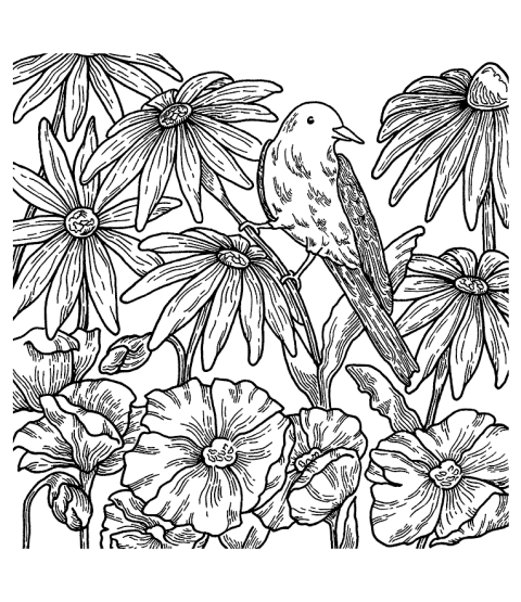Nancy Baier Bird Background Cling Mount Stamp CLB-001
