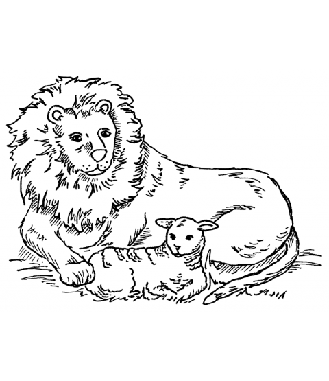 Nancy Baier Lion & Lamb Mount Stamp M3-7503J
