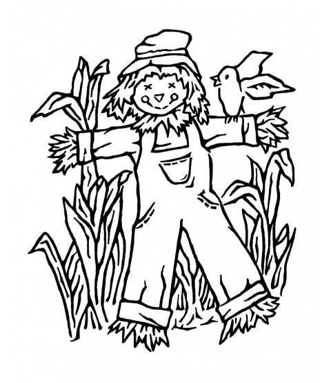 Nancy Baier Scarecrow Wood Mount Stamp K1-2302H