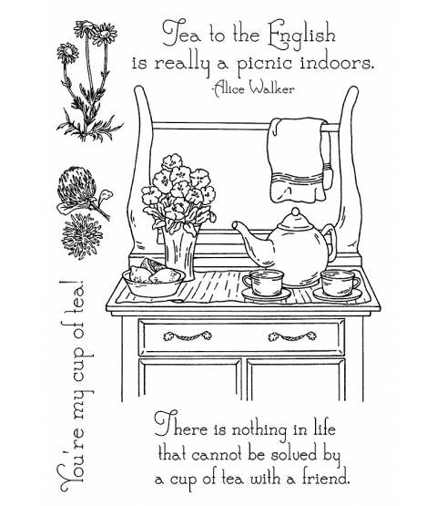 Nancy Baier Tea Time Scene Clear Stamp Set 11148MC
