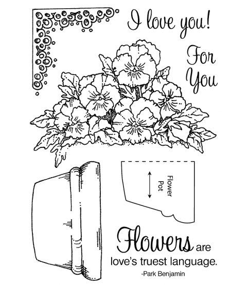 Potted Violets Clear Stamp Set 11105MC