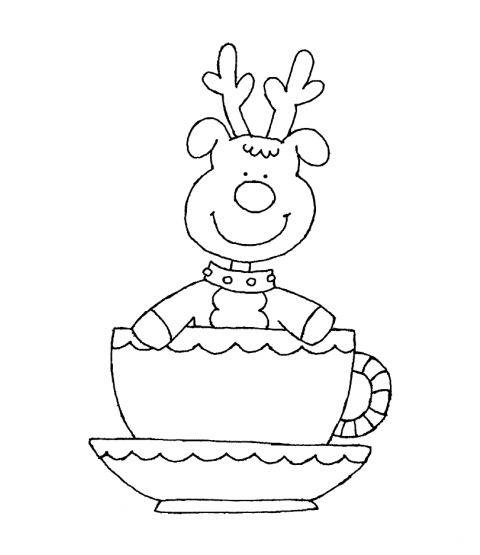 Reindeer Cup Wood Mount Stamp K5-0083H