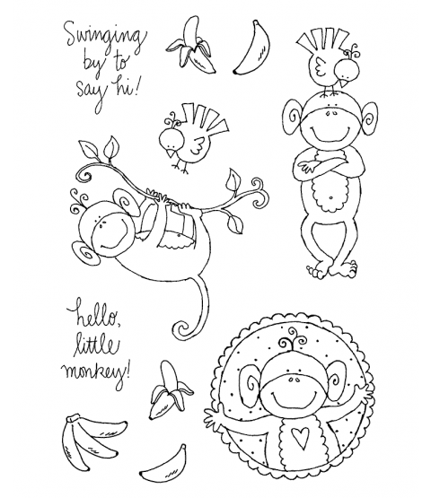 Ronnie Walter Monkeys Hanging Around Clear Stamp Set 10931MC