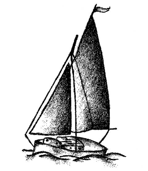 Sailboat Wood Mount Stamp M1-10125J