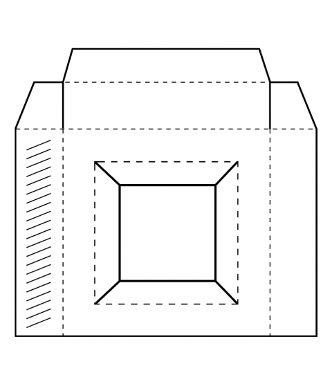 Square Box Template Wood Mount Stamp X2-2940