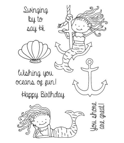 Tammy DeYoung Anchor & Lounging Mermaids Clear Stamp Set 11248MC