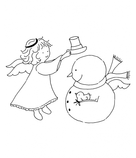 Tammy DeYoung Angel Helping Snowy Wood Mount Stamp M3-0496J