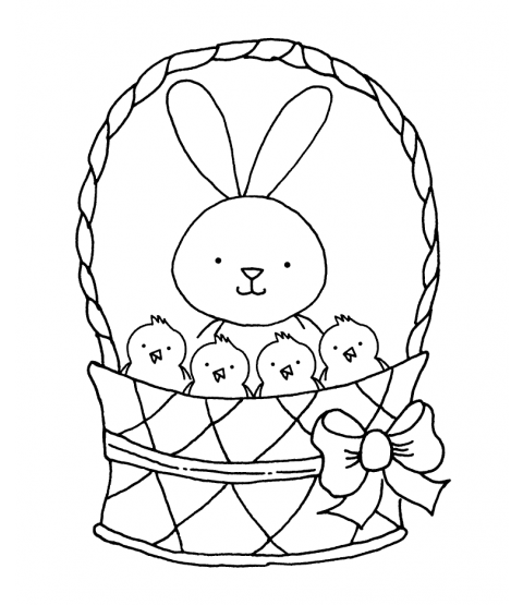 Tammy DeYoung Bunny & Chicks Basket Wood Mount Stamp K1-9301H