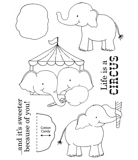 Tammy DeYoung Circus Elephants Clear Stamp Set 11214MC