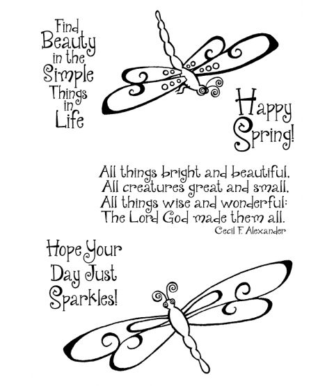 Trudy Sjolander Swirly Dragonflies Clear Stamp Set 11157MC