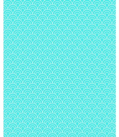 "Turquoise Scallops 8 1/2"" x 11"" Printed Paper - PA017"