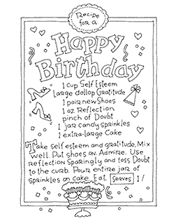 Birthday Recipe Wood Mount Stamp V4-10905V