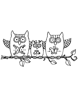 Branch Owl Trio Wood Mount Stamp K3-2241H