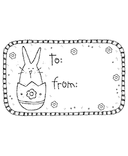 Bunny Tag Wood Mount Stamp P4-0182K