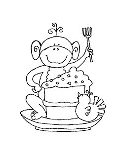 Cake Slice Monkey Wood Mount Stamp J1-0034G