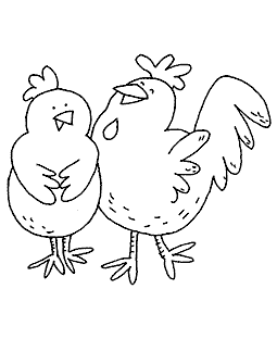 Chicken Couple Wood Mount Stamp K1-10878H