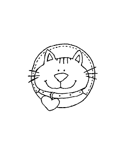 Circle Kitty Wood Mount Stamp G1-0199F