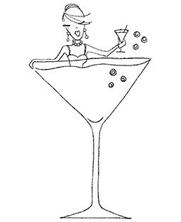 Cocktail Time Wood Mount Stamp K3-10045H