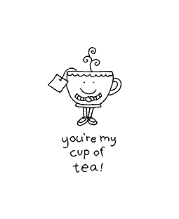 Cup of Tea Wood Mount Stamp E1-10852E