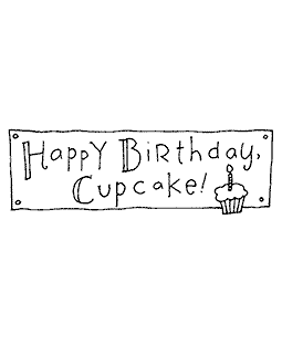 Cupcake Birthday Wood Mount Stamp J5-10609G