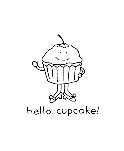 Cupcake Hello Wood Mount Stamp H1-10867F