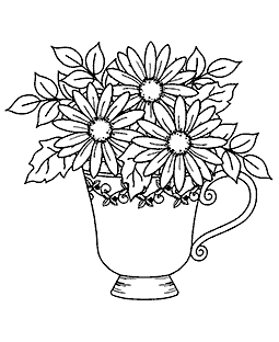 Daisy Teacup Wood Mount Stamp M2-2893J