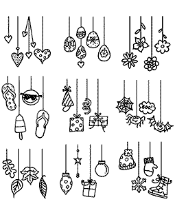 Nicola Storr Dangling Doodles Clear Stamp Set - 11355SC