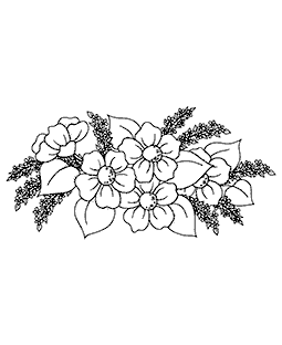 Floral Spray Wood Mount Stamp K3-2866H