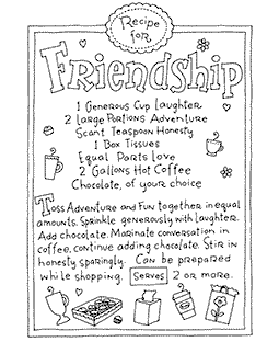 Ronnie Walter Friendship Recipe Wood Mount Stamp V4-10906V