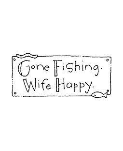 Gone Fishing Wood Mount Stamp E2-10574E