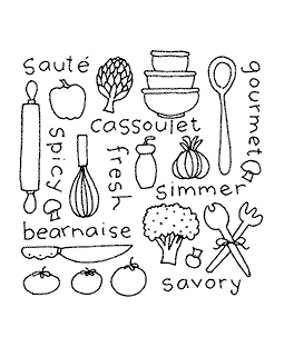 Gourmet Background Wood Mount Stamp H2-10810F
