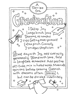 Graduation Recipe Wood Mount Stamp V4-10907V
