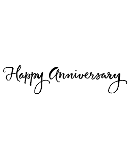 Happy Anniversary Wood Mount Stamp J4-10085G
