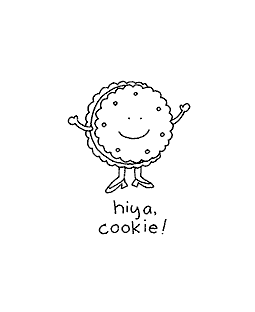 Hiya Cookie Wood Mount Stamp E1-10855E