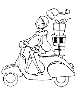 Holiday Vespa Girl Wood Mount Stamp M2-10049J