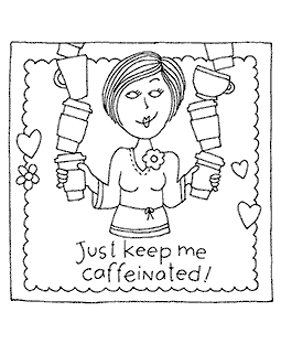 Keep Me Caffeinated Wood Mount Stamp M2-0111J